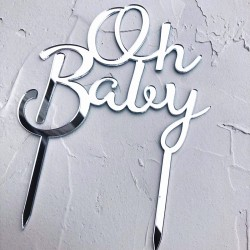 """""""Oh Baby"""" Topper Zilver"""